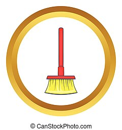 Red brush for a floor vector icon in golden circle, cartoon...