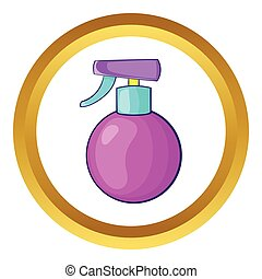 Spray vector icon in golden circle, cartoon style isolated...
