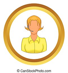 Support phone operator in headset vector icon in golden...
