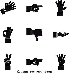 Communication gestures icons set, simple style