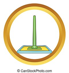 Floor cleaning mop vector icon
