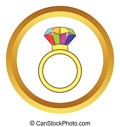 Ring LGBT vector icon in golden circle, cartoon style...