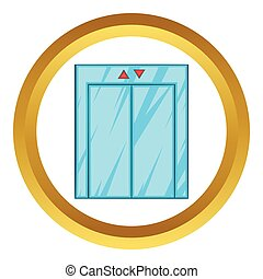 Elevator with closed door vector icon
