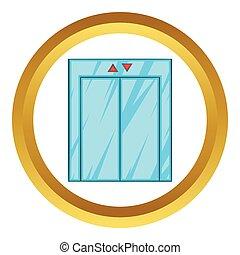 Elevator with closed door vector icon