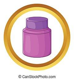 Shaving cream vector icon in golden circle, cartoon style...
