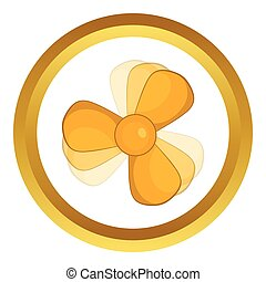 Car fan vector icon in golden circle, cartoon style isolated...