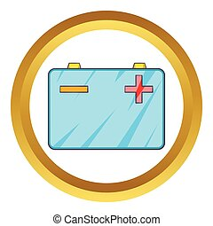 Car battery vector icon in golden circle, cartoon style...