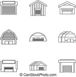 Warehouse icons set, outline style