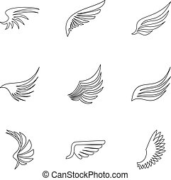 Wings of bird icons set, outline style