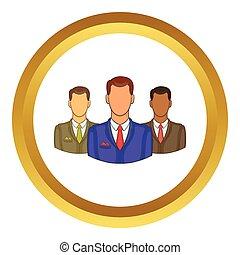 Avatars men vector icon in golden circle, cartoon style...