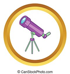 Telescope vector icon in golden circle, cartoon style...