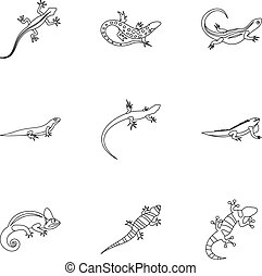 Varan icons set, outline style