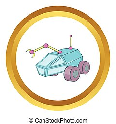 Rover vector icon in golden circle, cartoon style isolated...
