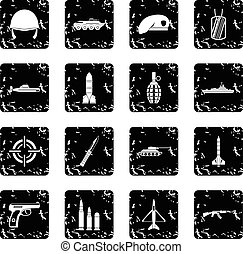 Military set icons, grunge style