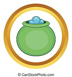 Green witch cauldron with potion vector icon