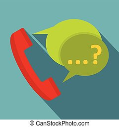 Phone with question mark speech bubble icon. Flat...