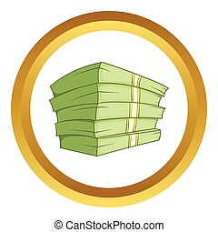 Stack of money vector icon in golden circle, cartoon style...