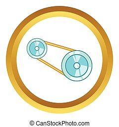 Timing belt vector icon in golden circle, cartoon style...