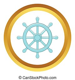 Wheel of Dharma vector icon in golden circle, cartoon style...
