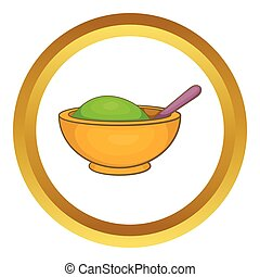 Yellow mortar and pestle vector icon in golden circle,...