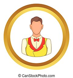 Croupier vector icon in golden circle, cartoon style...