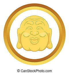 Budha head vector icon in golden circle, cartoon style...