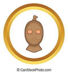 Thief with stocking over his head vector icon in golden...