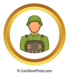 Soldier vector icon in golden circle, cartoon style isolated...