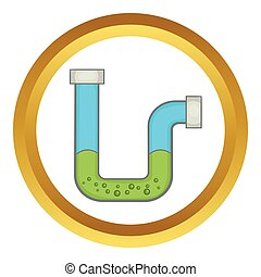 Clog in the pipe vector icon in golden circle, cartoon style...