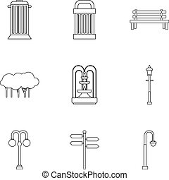 Garden icons set, outline style