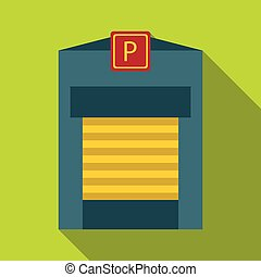 Gates to parking icon, flat style - Gates to parking icon....