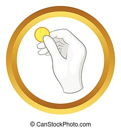 Hand in a white glove holding a coin vector icon