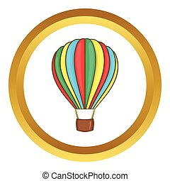 Colorful air balloon vector icon in golden circle, cartoon...