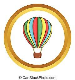 Colorful air balloon vector icon in golden circle, cartoon...