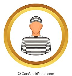 Prisoner vector icon in golden circle, cartoon style...