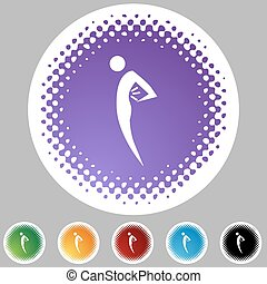 Back Pain Figure - Back pain web button isolated on a...