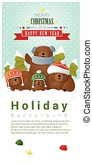 Merry Christmas and Happy New Year background with bear family 1