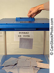 Ballot box and hand voting - Blue Ballot box of french...