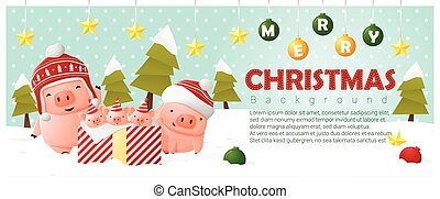 Merry Christmas and Happy New Year background with pig family 2