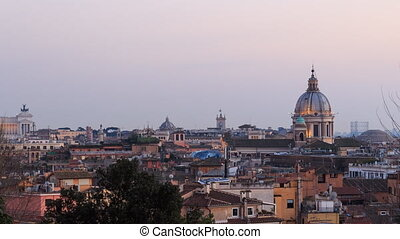 Dome of Cathedral of Santi Ambrogio e Carlo after sunset....