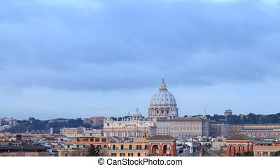 St. Peter's Basilica at SunRise. Zoom. Rome, Italy....