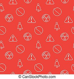 Danger and alarm red seamless pattern. Vector illustration.