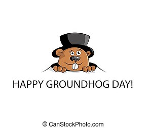 Happy groundhog day. marmot in hat look from hole. Flat...