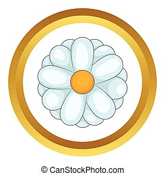 Daisy vector icon in golden circle, cartoon style isolated...
