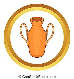 Ancient vase vector icon in golden circle, cartoon style...