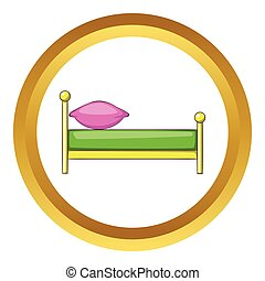 Kid bed vector icon in golden circle, cartoon style isolated...