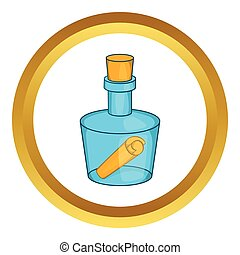 Bottle with letter vector icon in golden circle, cartoon...
