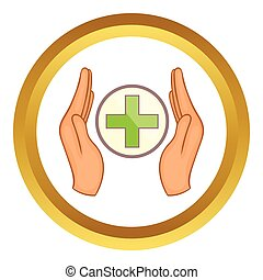 Hands holding cross vector icon