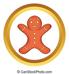 Gingerbread man cookie vector icon - Gingerbread man cookie...