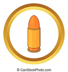 Bullet vector icon in golden circle, cartoon style isolated...